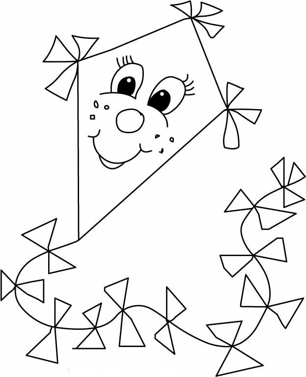 free coloring pages of kite preschool